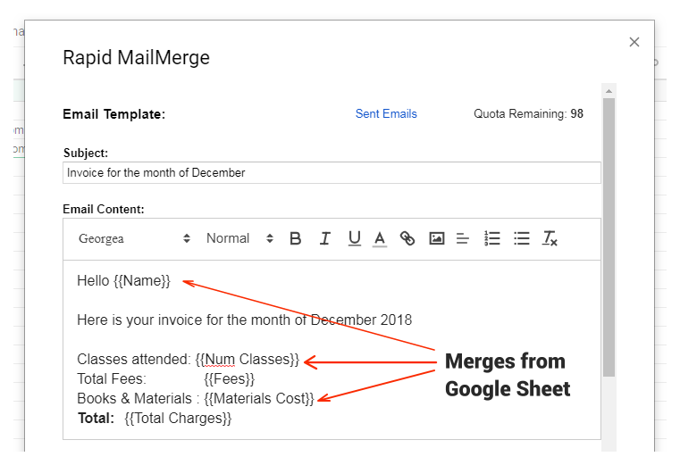 Rapid MailMerge Add-on for Google Sheets