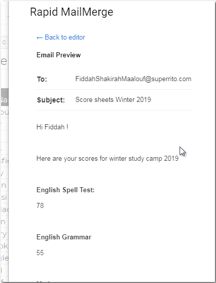 Students Scores in Email